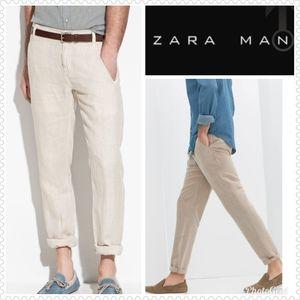 ZARA MAN Basic 100% Linen Natural Pants